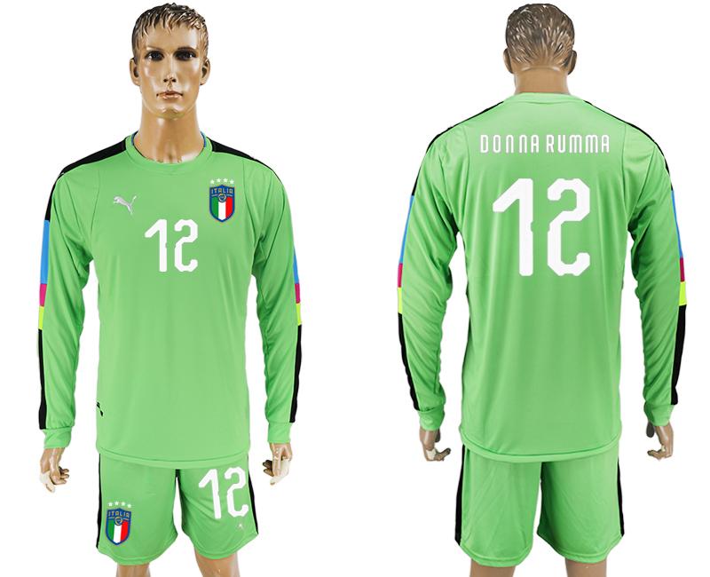 2017-18 Italy 12 DONNA RUMMA Green Long Sleeve Goalkeeper Soccer Jersey