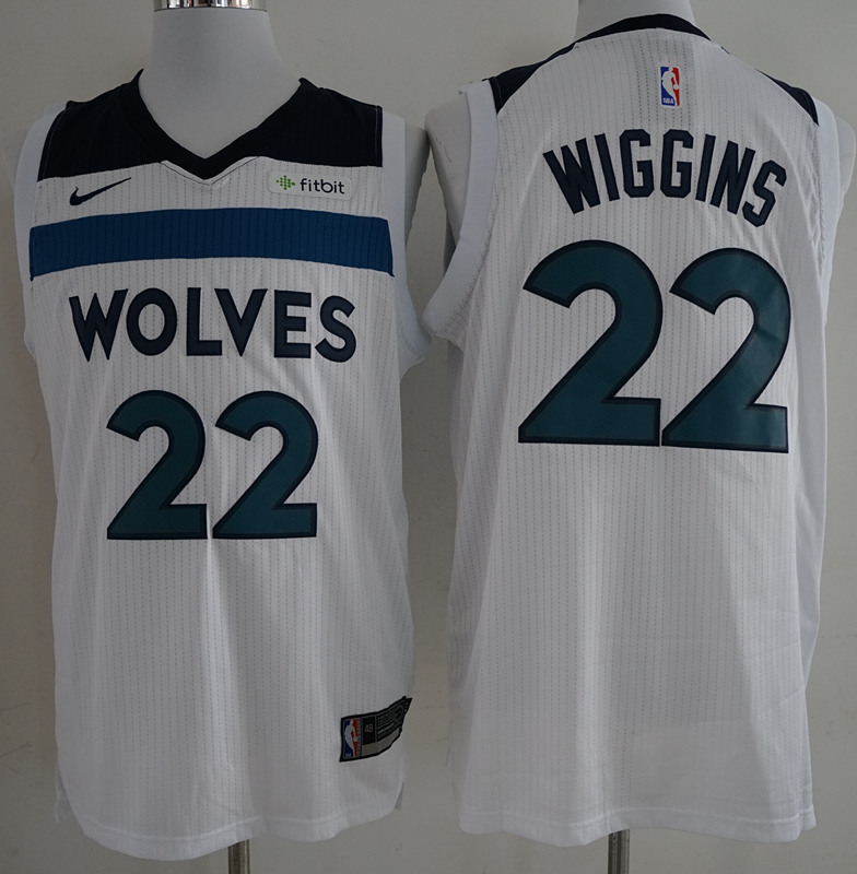 Timberwolves 22 Andrew Wiggins White Authentic Jersey