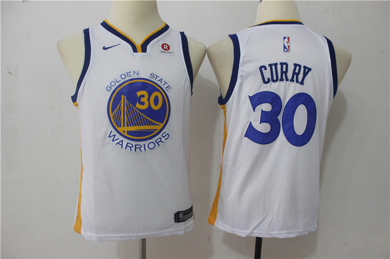 Warriors 30 Stephen Curry White Youth Nike Swingman Jersey