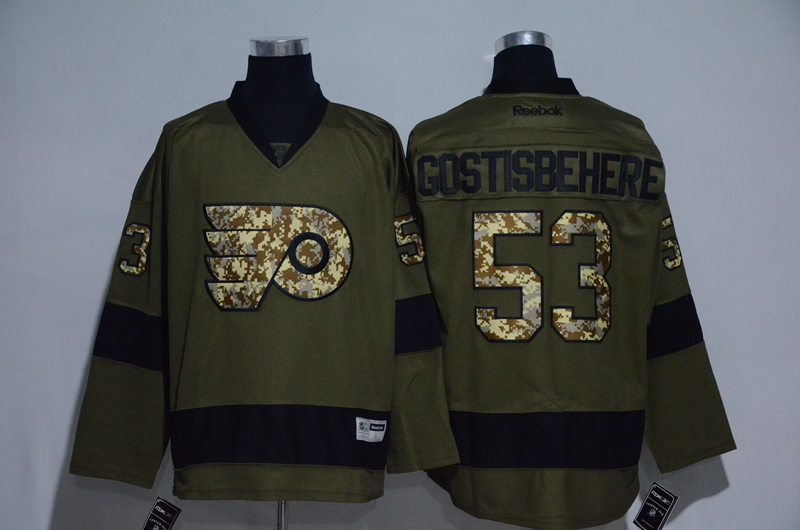Flyers 53 Shayne Gostisbehere Olive Green Salute to Service Reebok Jersey