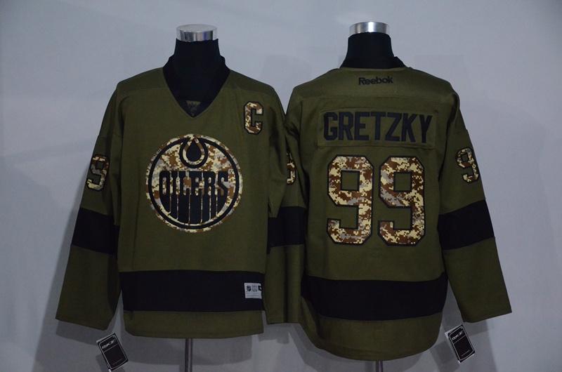 Oilers 99 Wayne Gretzky Olive Green Salute to Service Reebok Jersey