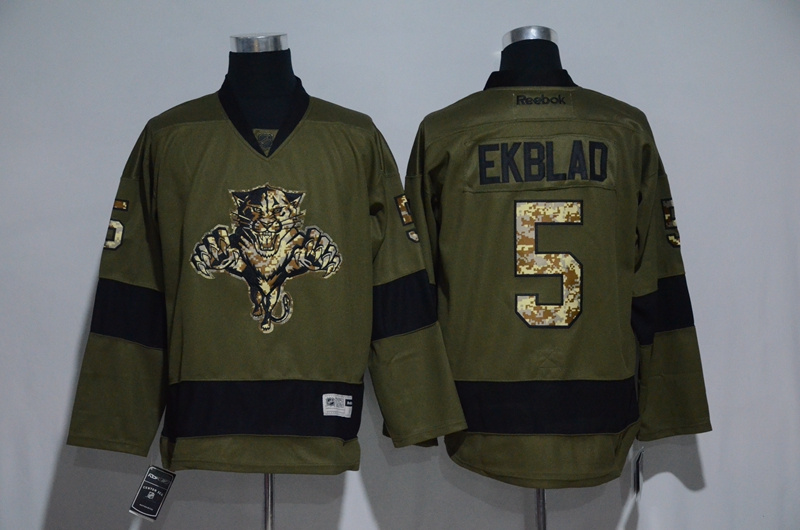 Panthers 5 Aaron Ekblad Olive Green Salute to Service Reebok Jersey