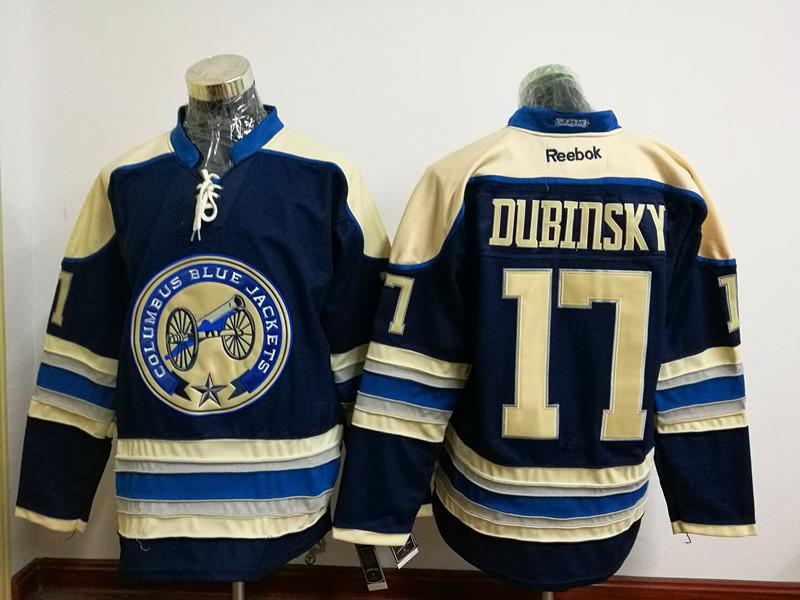 Blue Jackets 17 Brandon Dubinsky Navy Blue Reebok Jersey
