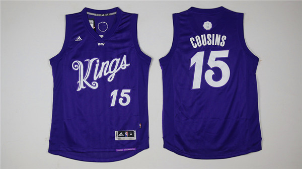 Kings 15 DeMarcus Cousins Purple 2016 Christmas Day Swingman Jersey