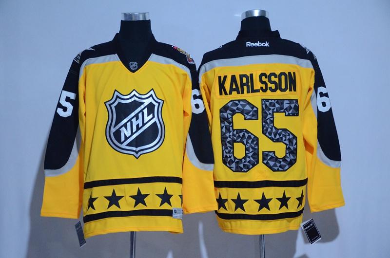 Senators 65 Erik Karlsson Yellow Atlantic Division 2017 NHL All-Star Game Premier Jersey