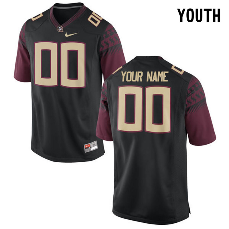 Florida State Seminoles Black Youth Customized College Jersey