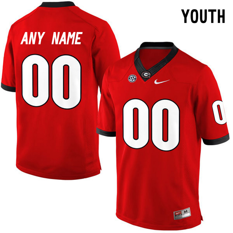 Georgia Bulldogs Red Youth Customized College Jersey