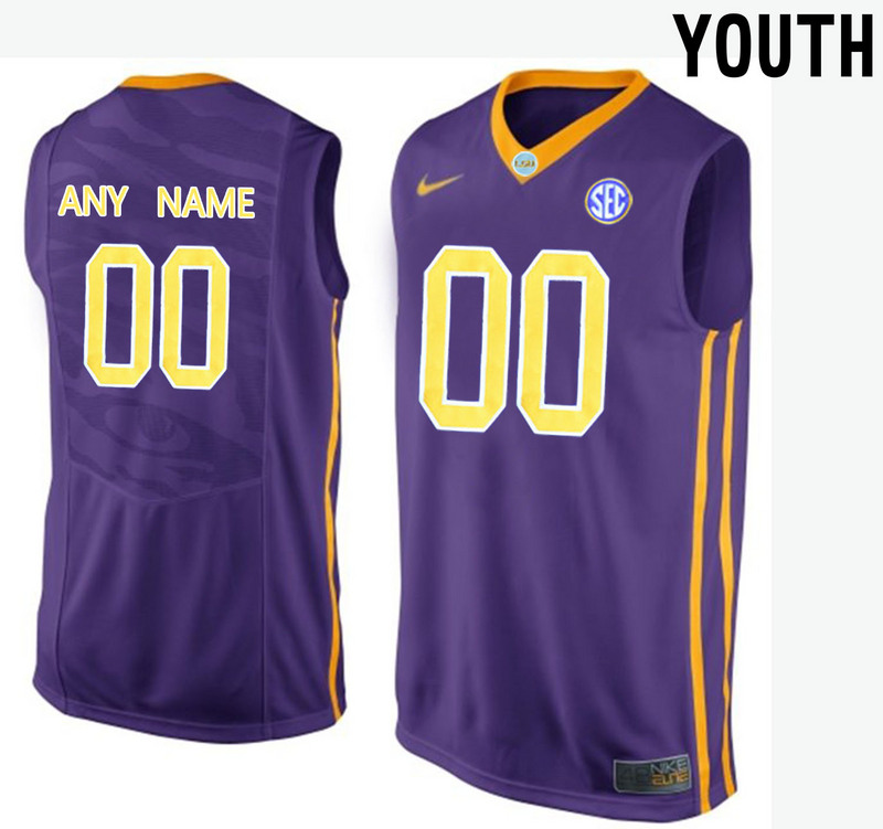 LSU Tigers Purple Youth Customized College Basketball Jersey