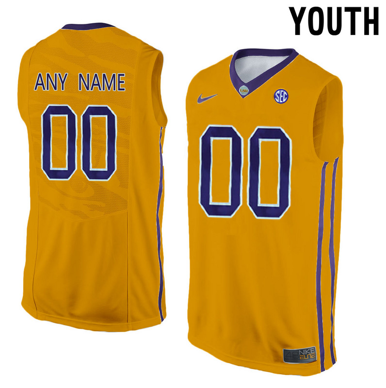 LSU Tigers Yellow Youth Customized College Basketball Jersey