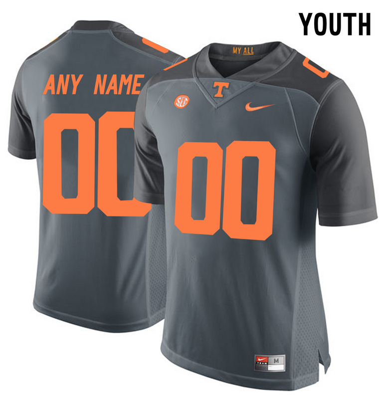 Tennessee Volunteers Gray 2016 SEC Youth Customized College Jersey