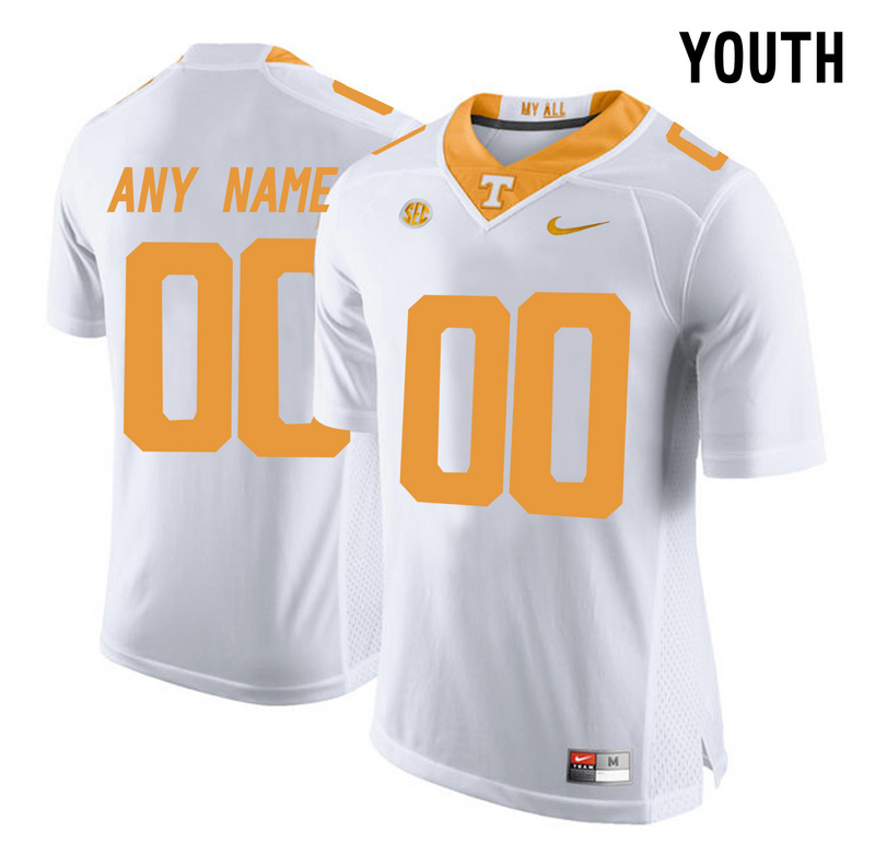 Tennessee Volunteers White 2016 SEC Youth Customized College Jersey