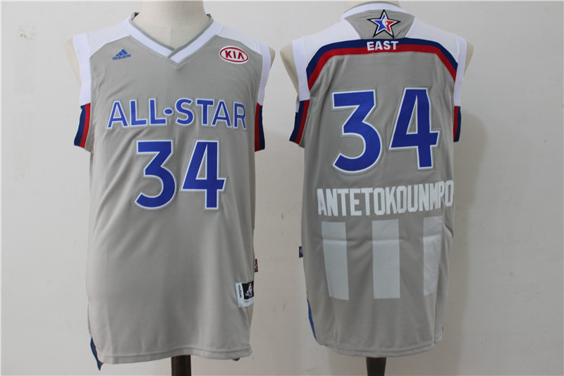 Bucks 34 Giannis Antetokounmpo Gray 2017 NBA All-Star Game Swingman Jersey