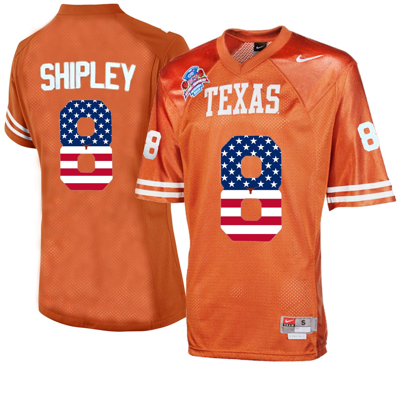 Texas Longhorns 8 Jordan Shipley Orange College Football Throwback Jersey