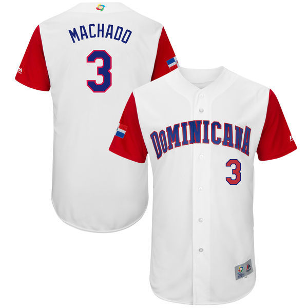 Men's Dominican Republic Baseball 3 Manny Machado White 2017 World Baseball Classic Jersey