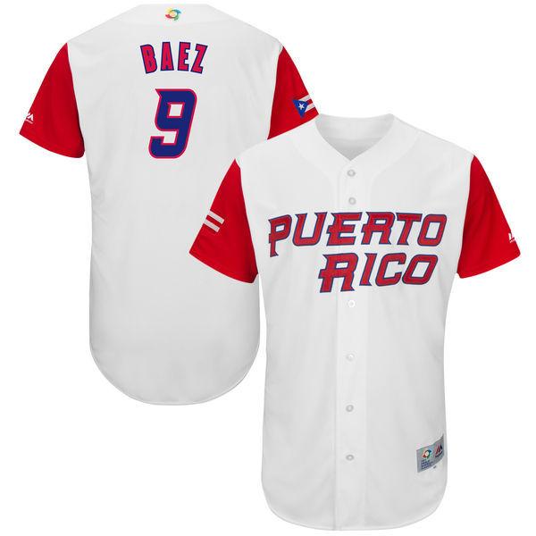 Men's Puerto Rico Baseball 9 Javier Baez White 2017 World Baseball Classic Jersey