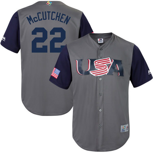 Men's USA Baseball 22 Andrew McCutchen Gray 2017 World Baseball Classic Jersey