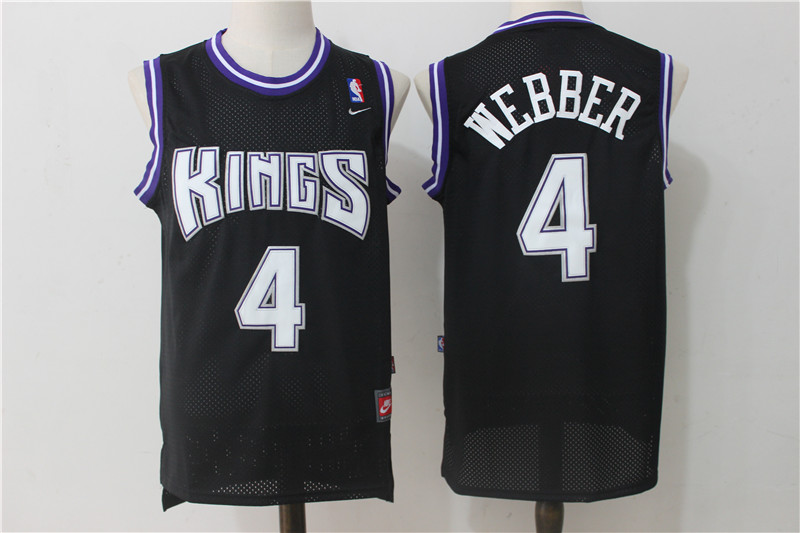 Kings 4 Chris Webber Black Nike Jersey