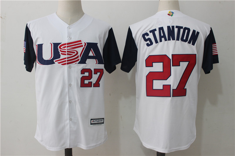 Men's USA Baseball 27 Giancarlo Stanton White 2017 World Baseball Classic Jersey