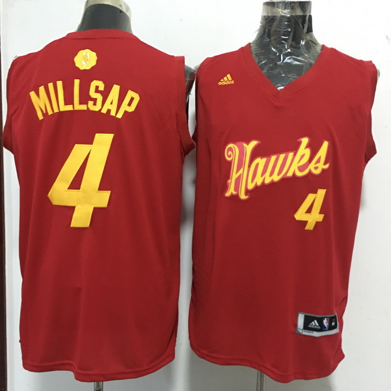 Hawks 4 Paul Millsap Red 2016 Christmas Day Swingman Jersey