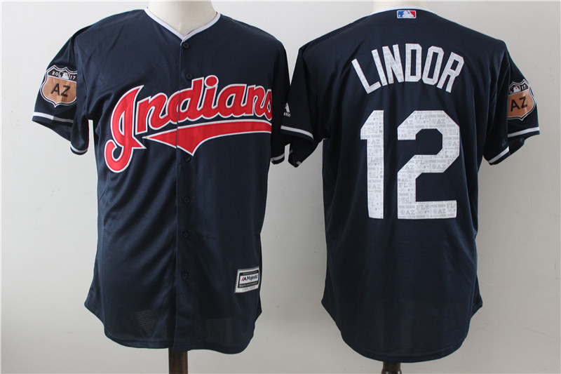 Indians 12 Francisco Lindor Navy 2017 Spring Training Cool Base Jersey