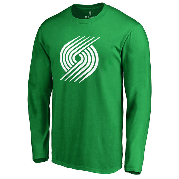 Portland Trail Blazers Fanatics Branded Kelly Green St. Patrick's Day White Logo Long Sleeve T-Shirt