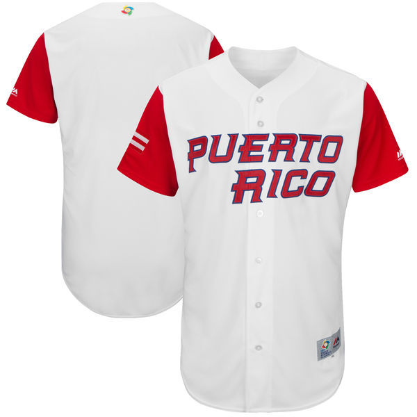 Men's Puerto Rico Baseball Majestic White 2017 World Baseball Classic Authentic Team Jersey