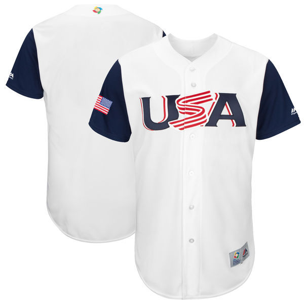 Men's USA Baseball Majestic White 2017 World Baseball Classic Authentic Team Jersey