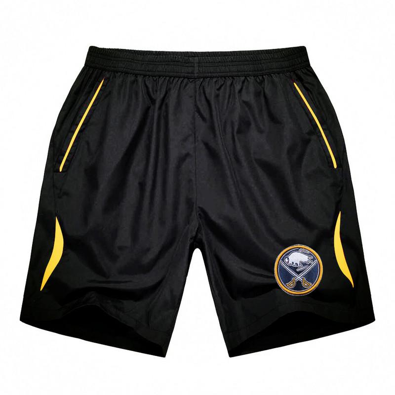 Men's Buffalo Sabres Black Gold Stripe Hockey Shorts