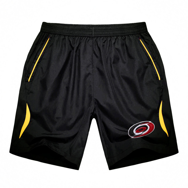 Men's Carolina Hurricanes Black Gold Stripe Hockey Shorts