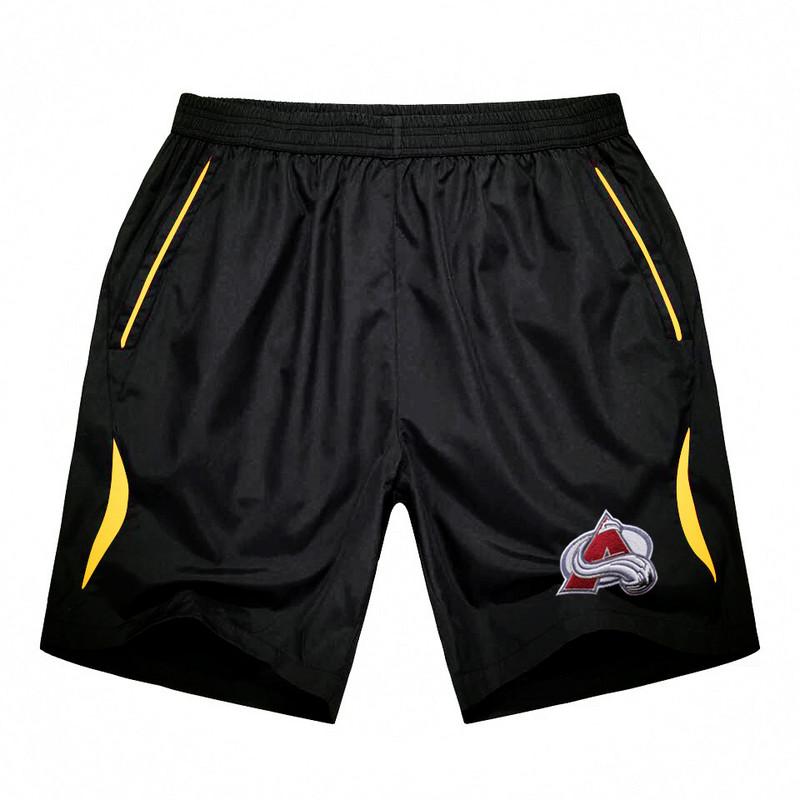 Men's Colorado Avalanche Black Gold Stripe Hockey Shorts
