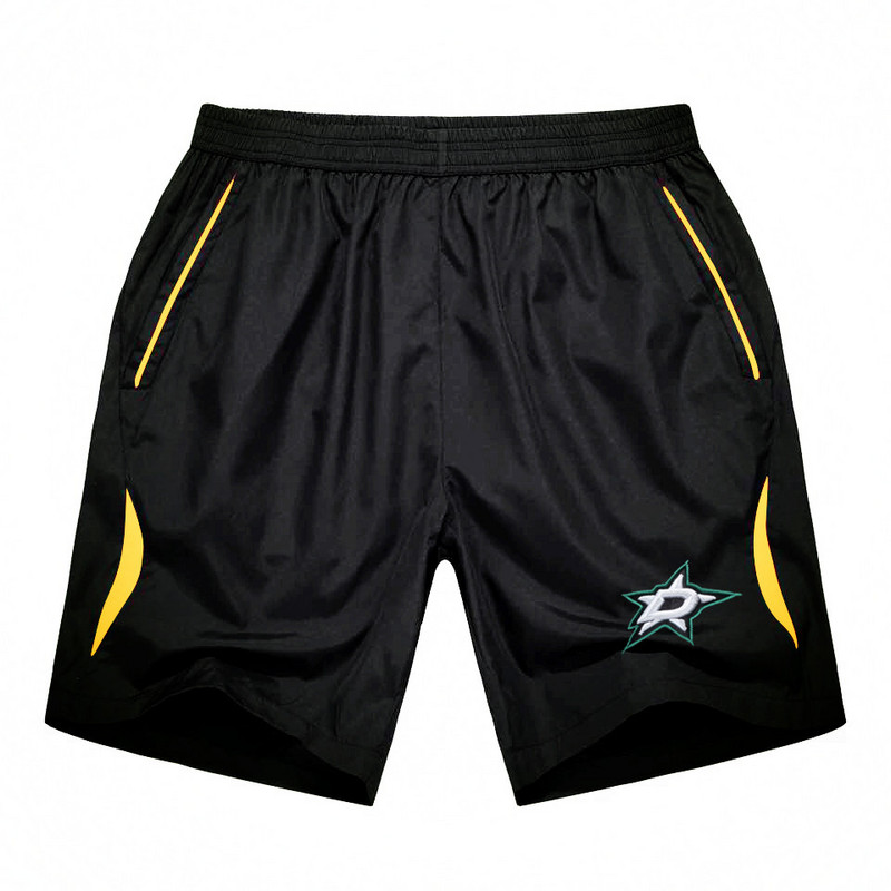Men's Dallas Stars Black Gold Stripe Hockey Shorts