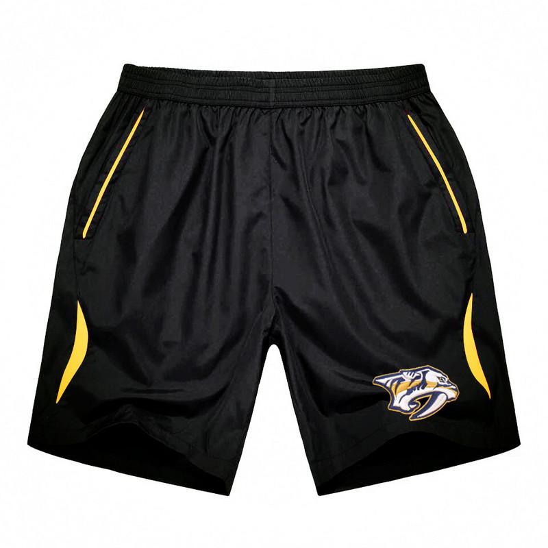Men's Nashville Predators Black Gold Stripe Hockey Shorts