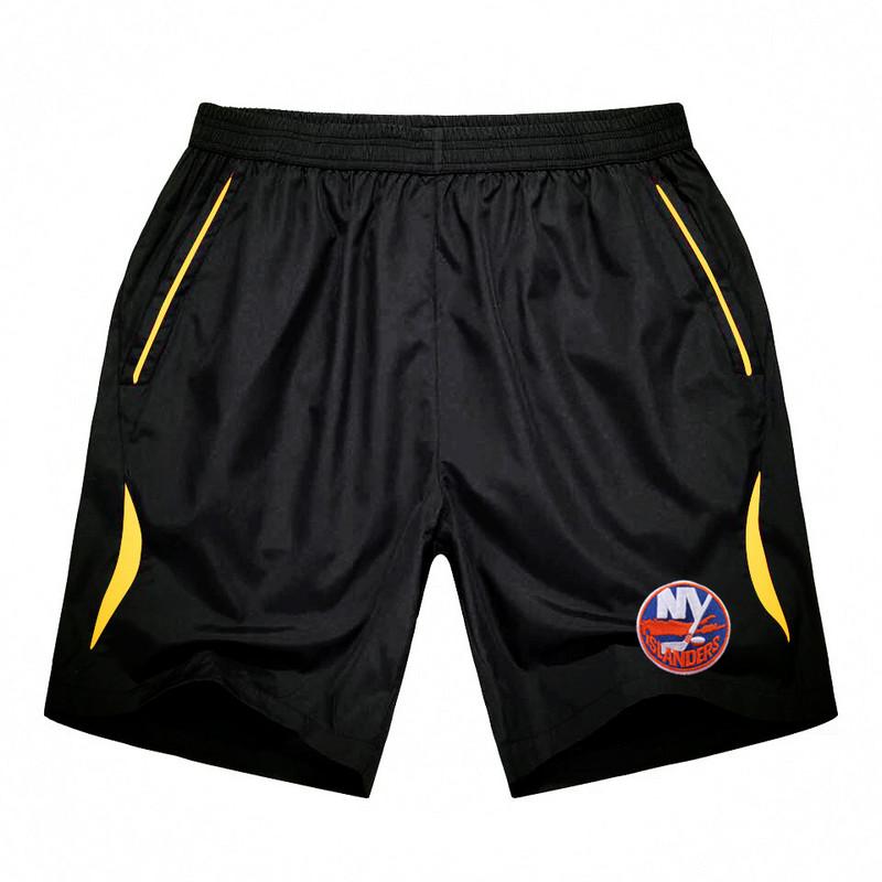 Men's New York Islanders Black Gold Stripe Hockey Shorts