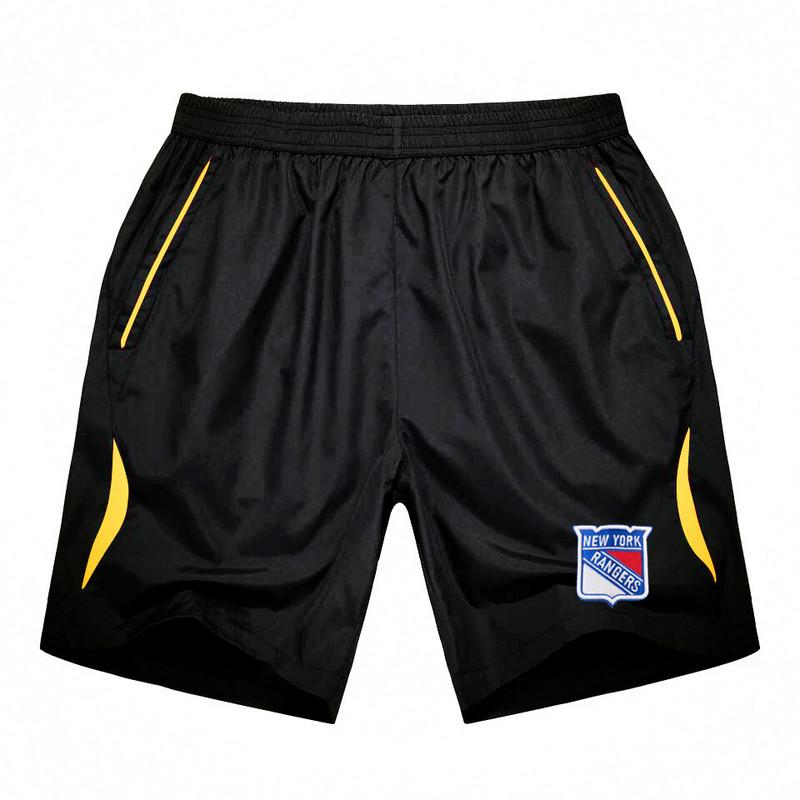 Men's New York Rangers Black Gold Stripe Hockey Shorts