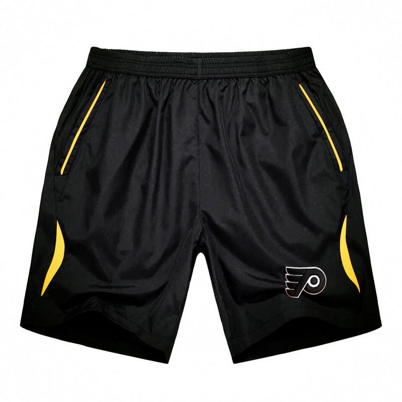 Men's Philadelphia Flyers Black Gold Stripe Hockey Shorts