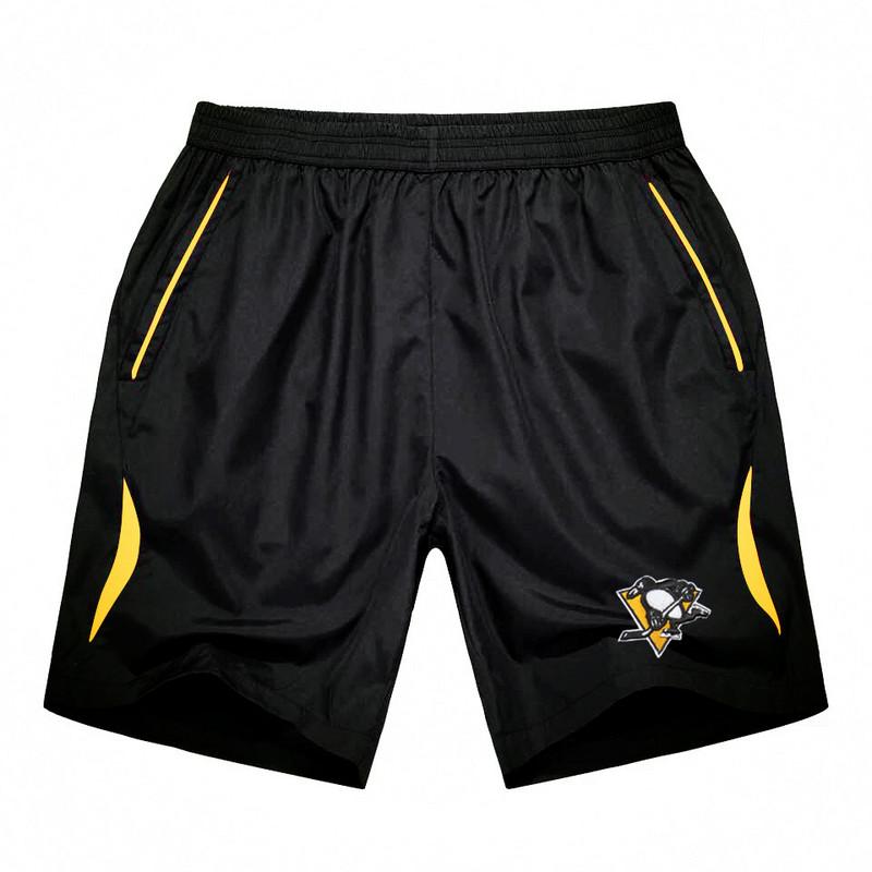Men's Pittsburgh Penguins Black Gold Stripe Hockey Shorts