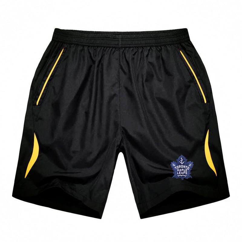Men's Toronto Maple Leafs Black Gold Stripe Hockey Shorts