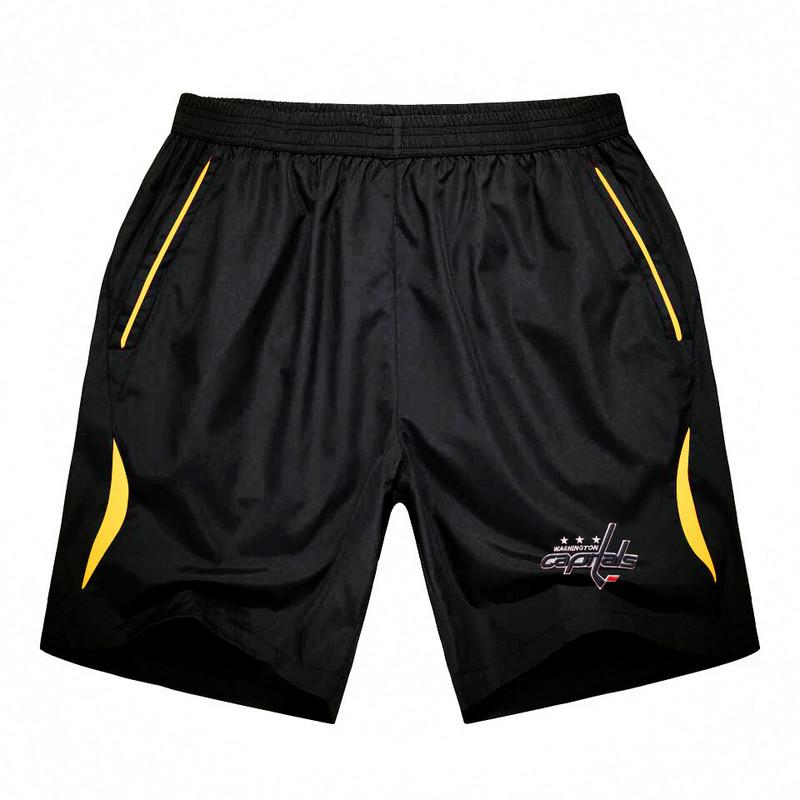 Men's Washington Capitals Black Gold Stripe Hockey Shorts