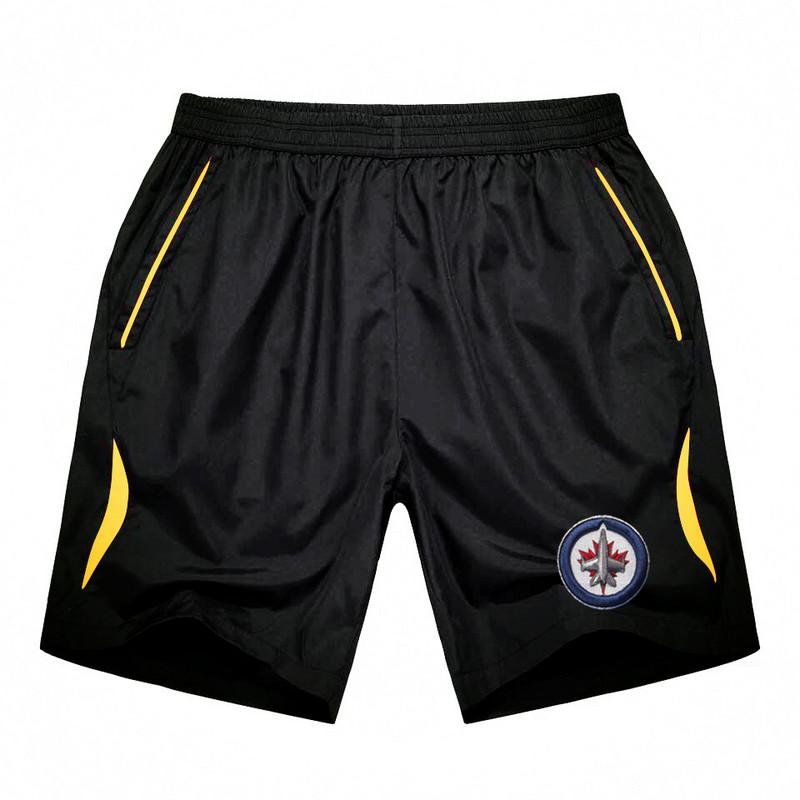 Men's Winnipeg Jets Black Gold Stripe Hockey Shorts