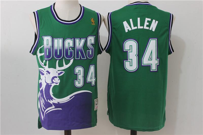 Bucks 34 Ray Allen Green Hardwood Classics Jersey
