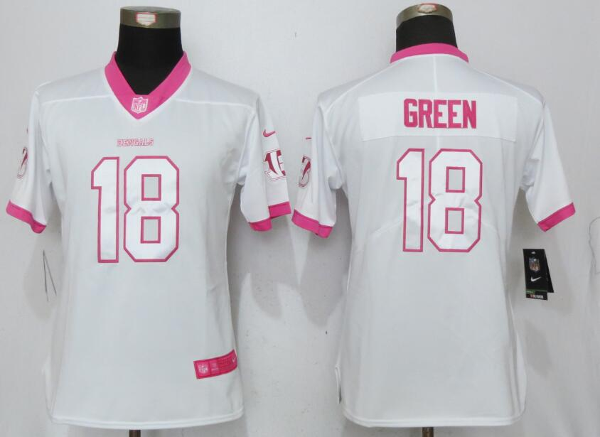 Nike Bengals 18 A.J. Green White Pink Women Game Jersey
