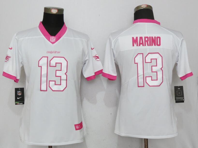 Nike Dolphins 13 Dan Marino White Pink Women Game Jersey