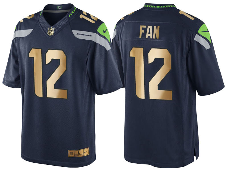 Nike Seahawks 12 Fan Navy Gold Game Jersey