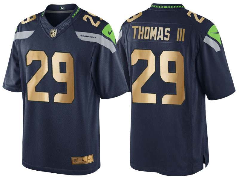 Nike Seahawks 29 Earl Thomas Navy Gold Game Jersey