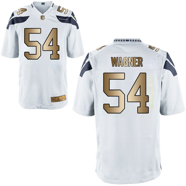 Nike Seahawks 54 Bobby Wagner White Gold Game Jersey