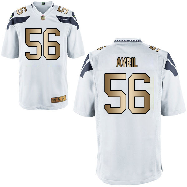 Nike Seahawks 56 Cliff Avril White Gold Game Jersey