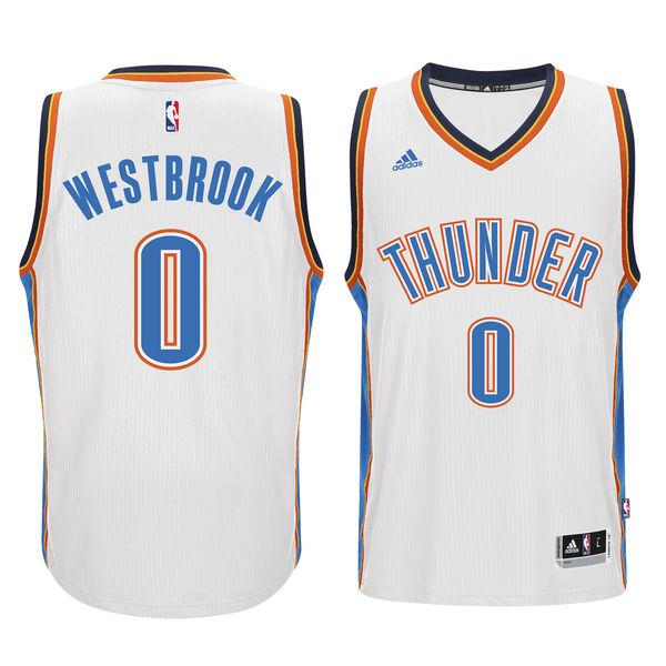 Thunder 0 Russell Westbrook White Swingman Jersey