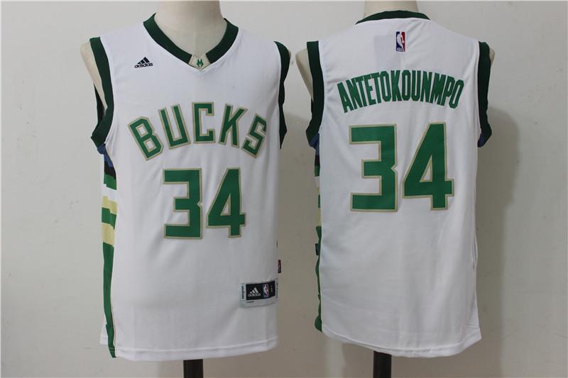Bucks 34 Giannis Antetokounmpo White Swingman Jersey