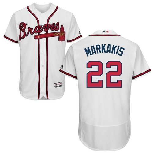 Braves 22 Nick Markakis White Flexbase Jersey