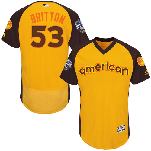 Orioles 53 Zach Britton Yellow 2016 MLB All Star Game Flexbase Batting Practice Player Jersey
